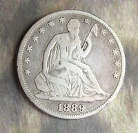 1889 LIB. SEATED HALF DOLLAR VG F. P.  90 SILVER. ONLY 12,000 MINTED