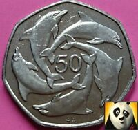 1995  GIBRALTAR 50P FIFTY PENCE DOLPHINS 7 SIDED LARGE COIN AA DIE MARK