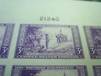 1935 MNH WISCONSIN   IMPERF PLATE  BLOCK OF 6 STAMPS SC 755 CV $ 11