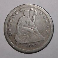 1860 SEATED SILVER QUARTER AS37