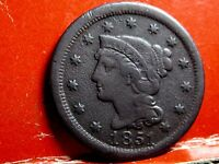 1851 BRAIDED HAIR EARLY COPPER LARGE CENT 9