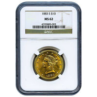 CERTIFIED $10 GOLD LIBERTY 1883 S MS62 NGC