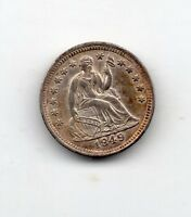 1849 SEATED LIBERTY DIME AU CONDITION GREAT TONE & DETAIL
