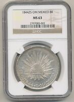 MEXICO 1844ZS OM 8 REALES KM 377.13 NGC MS63