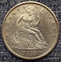 1843 O SEATED LIBERTY HALF DOLLAR UNC DETAILS COIN