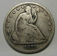 1871 S BROAD S WB 101 SEATED LIBERTY SILVER HALF DOLLAR GRADING VG  C457