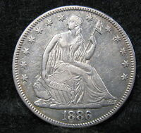 1886 SEATED LIBERTY SILVER HALF DOLLAR CHOICE AU 5,000 MINTED US COIN 997