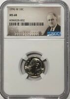 1996 W ROOSEVELT DIME NGC MS68   22 OF 100 GREATEST US MODERN COINS WEST POINT