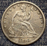 1848 O SEATED LIBERTY HALF DOLLAR AU DETAILS COIN