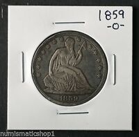 1859 O SEATED LIBERTY HALF DOLLAR NEW ORLEANS MINT 50 CENT SILVER COIN