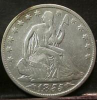 1855 O SEATED LIBERTY SILVER HALF DOLLAR  IDK157
