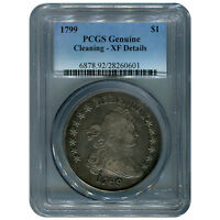 CERTIFIED DRAPED BUST DOLLAR 1799 XF DETAILS CLEANING GENUINE PCGS