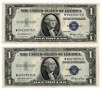 2  1935E $1 UNITED STATES SILVER CERTIFICATES BLUE SEALS NICE OLD CURRENCY