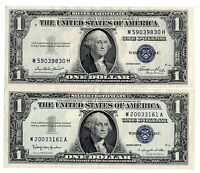 1935E & 57B $1 UNITED STATES SILVER CERTIFICATES BLUE SEALS NICE OLD CURRENCY