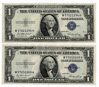 2  1935 E $1 UNITED STATES SILVER CERTIFICATES BLUE SEAL NICE OLD CURRENCY