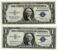 1935E & 57B $1 UNITED STATES SILVER CERTIFICATES BLUE SEALS  OLD CURRENCY