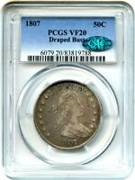 1807 50C PCGS/CAC VF20 DRAPED BUST GREAT EARLY TYPE COIN - BUST HALF DOLLAR