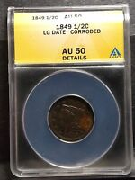 1849 BRAIDED HAIR HALF CENT   AU 50 ANACS   ALMOST UNCIRCULATED 50 DETAILS