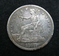 1877 S     TRADE DOLLAR    SILVER     STRONG VF/XF     TONED