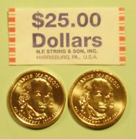 2007  D & P JAMES MADISON US PRESIDENTIAL DOLLAR COINS SET UNCIRCULATED