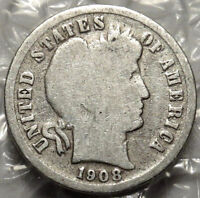 1908-D BARBER SILVER DIME.GOOD BOLD DATE & MINT MARK. US COIN. 648