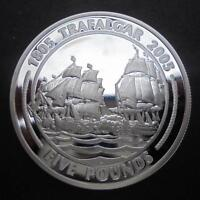 GIBRALTAR 2005 TRAFALGAR FIRST ENGAGEMENT FIVE POUNDS SILVER PROOF COIN