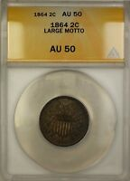 1864 LARGE MOTTO TWO CENT PIECE 2C COIN ANACS AU-50 A