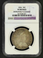 1806 DRAPED BUST SILVER HALF DOLLAR NGC VF DETAILS IMPROPERLY CLEANED -156394