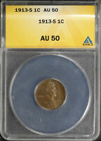 1913-S LINCOLN WHEAT CENT ANACS AU-50 -158713