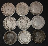 LOT OF 9 LIBERTY V NICKELS, GOOD OR BETTER, 1897, 1898, 1901 ETC. LOT 38