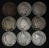 LOT OF 9 LIBERTY V NICKELS, GOOD OR BETTER, 1897, 1898 ETC. LOT 36