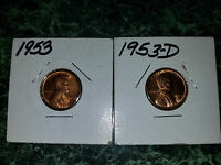 2 LOT 1953 / D  LINCOLN WHEAT CENT CH RED BRILLIANT UNCIRCULATED