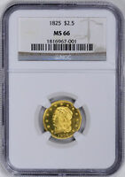 1825 CAPPED BUST $2 1/2 NGC MS 66