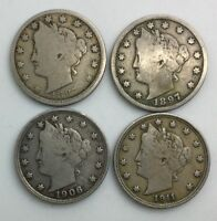 1887 1897 1906 1911 LIBERTY  NICKEL LOWER GRADE GROUP OF 4 COINS