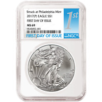 2017 P $1 AMERICAN SILVER EAGLE NGC MS69 FDI FIRST LABEL
