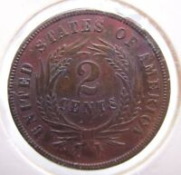 1865 2 CENT TWO CENT PIECE COIN US COIN COPPER NEAR MINT