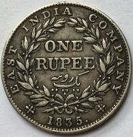 1835 INDIA RUPEE WILLIAM IV RS ON TRUNCATION SILVER  MID GRADE  COIN