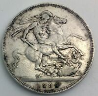 GREAT BRITAIN 1899 LXIII  OLD HEAD  SILVER QUEEN VICTORIA  CROWN