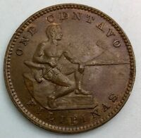 1903 PHILIPPINES ONE CENTAVO CHOICE COIN LUSTROUS BROWN KM163