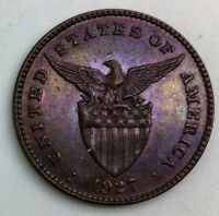 1927 M PHILIPPINES ONE CENTAVO NICE COIN COLOUR  KM163