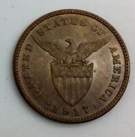 1917 S PHILIPPINES ONE CENTAVO NICE COIN GLOSSY BROWN  KM163