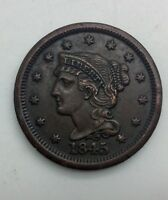1845   LARGE CENT  PLEASING ORIGINAL COIN NICE COLOUR TYPE COIN