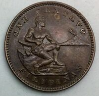 1904 PHILIPPINES ONE CENTAVO NICE COIN GLOSSY BROWN  KM163