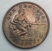 1908 S PHILIPPINES ONE CENTAVO NICE COIN GLOSSY BROWN  KM163