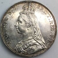 GREAT BRITAIN 1889 CROWN SILVER LUSTROUS SEMI PL NICE COIN