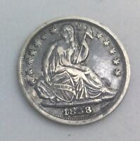 1838 SEATED HALF DIME DECENT COIN NICE REMAINING DETAILS