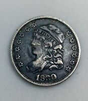 1830  CAPPED BUST HALF DIME  EARLY DATE COLLECTORS COIN GUN METAL GREY TONE