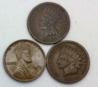 1884 1888 INDIAN  HEAD CENT LOT OF 2 & 1910 LINCOLN