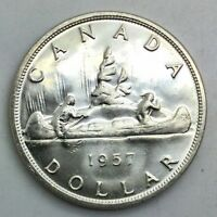 CANADA 1957 SILVER DOLLAR  REGULAR WATER LINES CHOICE COIN