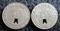 PAIR  2  NEW HAMPSHIRE PUBLIC WORKS AND HIGHWAYS TOKEN   OLD MAN MOUNTAIN